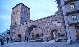 AOSTA, ITALY - MARCH 6, 2018: Porta Pretoria on 6 March 2018 in Royalty Free Stock Photos
