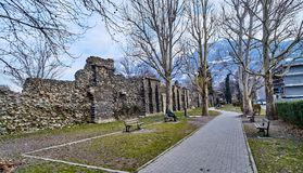 AOSTA, ITALY - MARCH 9, 2018: Street in the historic part of the royalty free stock photography