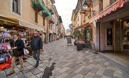 AOSTA, ITALY - MARCH 9, 2018: Street in the historic part of the Stock Photo
