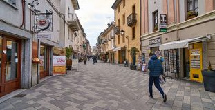 AOSTA, ITALY - MARCH 9, 2018: Street in the historic part of the Royalty Free Stock Image