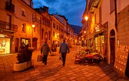AOSTA, ITALY - MARCH 6, 2018: Street in the historic part of the Royalty Free Stock Photo