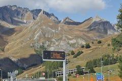 Aosta, Italy - Nature near the tunnel G.S.Bernard. The G.S.Bernard tunnel is a 5798 m long strass tunnel between the italian Aosta and Martigny in the Swiss Stock Photo
