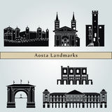 Aosta landmarks and monuments. On blue background in editable vector file Royalty Free Stock Photography