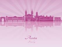Aosta linia horyzontu w purpurowej opromienionej orchidei Obraz Royalty Free
