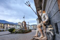 Aosta. Piazza Émile Chanoux is the main square in Aosta. Italy. Aosta. Piazza Émile Chanoux is the main square in Aosta. It is located in the central part of Royalty Free Stock Photos
