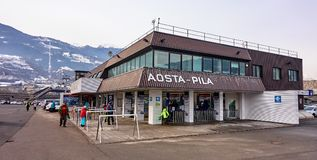 AOSTA PILA, ITALY - MARCH 6, 2018: Ski station on 6 March 2018 i stock photos