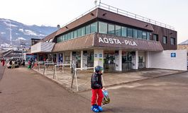 AOSTA PILA, ITALY - MARCH 6, 2018: Ski station on 6 March 2018 i royalty free stock image