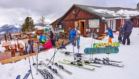 AOSTA PILA, ITALY - MARCH 6, 2018: Ski station on 6 March 2018 i stock images