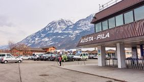 AOSTA PILA, ITALY - MARCH 6, 2018: Ski station on 6 March 2018 i royalty free stock images