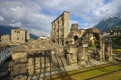 Aosta roman theatre Royalty Free Stock Image