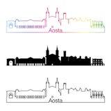 Aosta skyline linear style with rainbow. In editable vector file Stock Photos