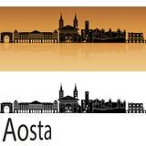 Aosta skyline in orange. Background in editable vector file Stock Photos