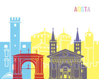 Aosta skyline pop. In editable vector file Royalty Free Stock Images