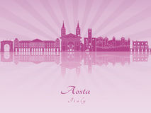 Aosta skyline in purple radiant orchid. In editable vector file Royalty Free Stock Image