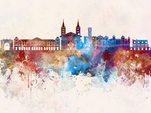 Aosta skyline in watercolor background. Aosta skyline artistic abstract in watercolor background Royalty Free Stock Images