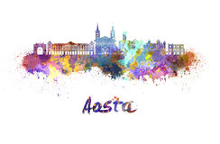 Aosta skyline in watercolor. Splatters with clipping path Stock Photography