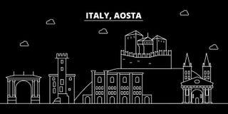 Aosta sylwetki linia horyzontu Włochy, Aosta wektorowy miasto -, włoska liniowa architektura, budynki Aosta podróży ilustracja Zdjęcie Royalty Free