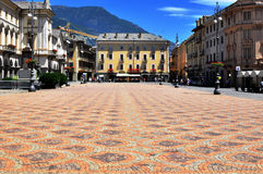 Aosta town square. AOSTA, ITALY - JUNE 28: View of the Town square of Aosta on June 28, 2015. Aosta is the capital and largest city of Val d'Aosta region, Italy Stock Images