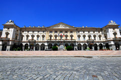 Aosta town square. AOSTA, ITALY - JUNE 28: View of the Town square of Aosta on June 28, 2015. Aosta is the capital and largest city of Val d'Aosta region, Italy Royalty Free Stock Image