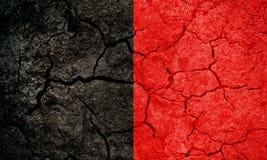 Aosta Valley, autonomous region of Italy, flag. On dry earth ground texture background Stock Photo