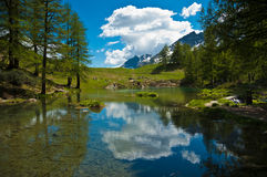 Aosta Valley, Blue Lake. Clouds reflected in the clear waters of blue lake, Valtournenche - Aosta Valley Stock Image