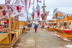 Aosta Valley 12 December 2017. Traditional Christmas Market in t stock image