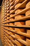 Aosta valley Fontina Italian cheese. Traditional cave aging storage. Stock Image