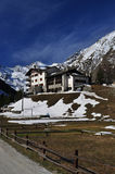 Aosta Valley, Italy. Alpine hotel architecture royalty free stock photo
