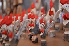 Aosta valley local handicraft, wooden cockerel sculpture royalty free stock image