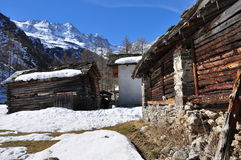 Aosta Valley traditional wooden architecture stock photos