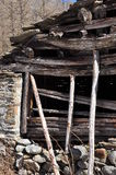 Aosta Valley traditional wooden architecture detail stock photo