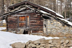 Aosta Valley traditional wooden architecture detail. Traditional alpine hut wooden architecture detail. Mountain houses in Val Nontey, Cogne, Aosta Valley, Italy Stock Images