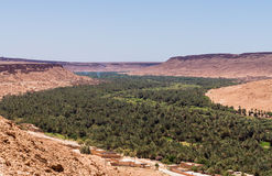 Aoufous in Morocco with green verdant valley. Aoufous in Morocco is a town set in the dry desert in the midst of a green oasis like river Stock Photos