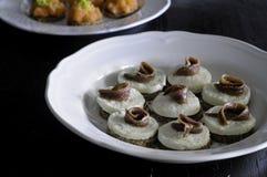 Apéritif avec du mozzarella et des anchois de buffle Image stock