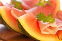 Apéritif de melon et de jambon Photographie stock