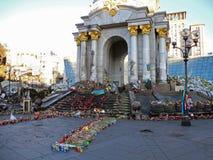 Após a confrontação no Maidan de Kiev em Ucrânia em 2014 fotos de stock
