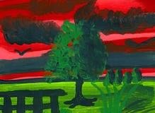 Após o temporal - pintura acrílica Imagem de Stock