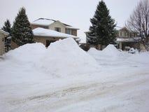 Após uma tempestade maciça do inverno em Londres Ontário fotografia de stock