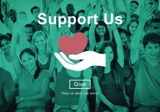 Apóyenos el concepto voluntario de las donaciones del bienestar Fotografía de archivo libre de regalías