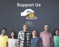 Apóyenos el concepto voluntario de las donaciones del dinero fotos de archivo