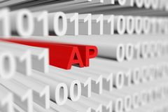 AP. As a binary code with blurred background 3D illustration Royalty Free Stock Photography