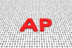 AP. In the form of binary code, 3D illustration Stock Photos