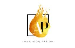 AP Gouden Brief Logo Painted Brush Texture Strokes Royalty-vrije Stock Foto