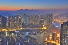 AP Lei Chau bei Sonnenuntergang stockbild
