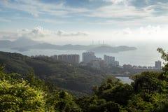 Ap Lei Chau e ilhas de Lamma vistas de Victoria Peak Fotografia de Stock Royalty Free