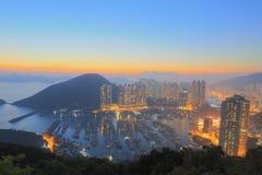 Ap Lei Chau no por do sol Foto de Stock Royalty Free