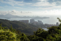 AP Lei Chau und Lamma-Inseln angesehen von Victoria Peak lizenzfreie stockfotografie