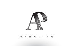 AP Logo Design With Multiple Lines and Black and White Colors. AP Logo Design With Multiple Lines. Artistic Elegant Black and White Lines Icon Vector Royalty Free Stock Photography