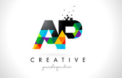 AP A P Letter Logo with Colorful Triangles Texture Design Vector. AP A P Letter Logo with Colorful Vivid Triangles Texture Design Vector Illustration Stock Images