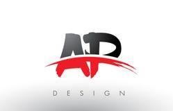 AP une brosse Logo Letters de P avec l'avant de brosse de bruissement de rouge et de noir Photo stock